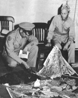 General Roger Ramsey with Weather Balloon Debris